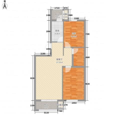 学院1号1室1厅1卫1厨66.37㎡户型图