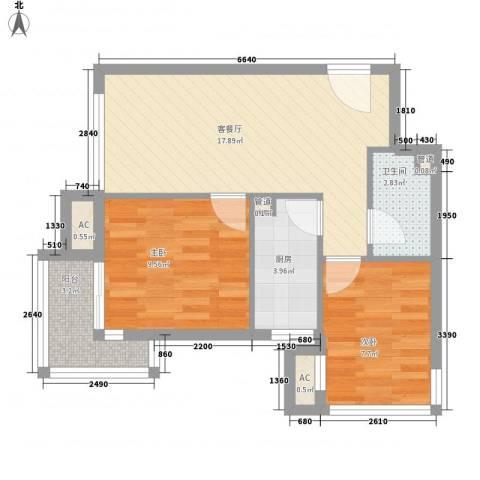 顶秀欣园2室1厅1卫1厨68.00㎡户型图