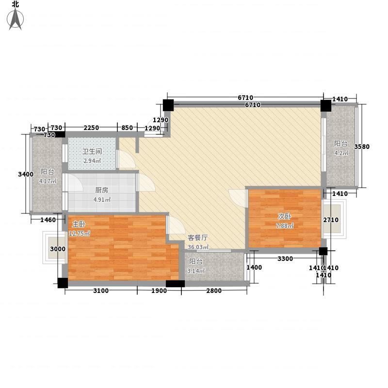 香堤雅院88.70㎡1#楼L/M户型2室2厅1卫1厨