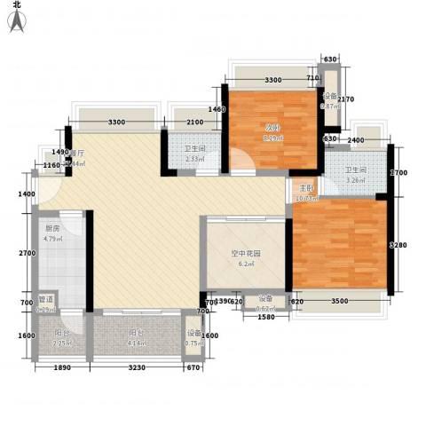 富通天邑湾2室1厅2卫1厨94.00㎡户型图