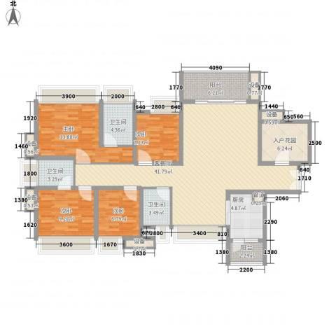 富通天邑湾4室1厅3卫1厨145.00㎡户型图