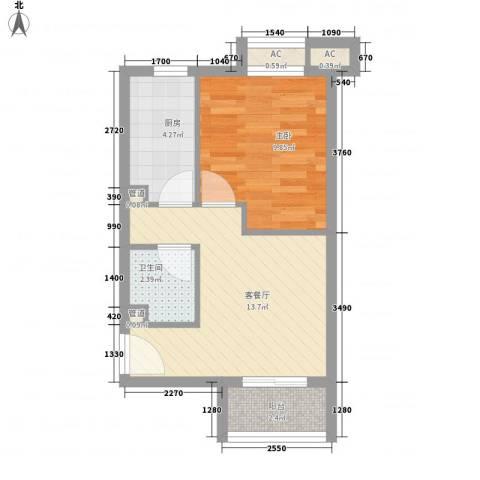 顶秀欣园1室1厅1卫1厨51.00㎡户型图