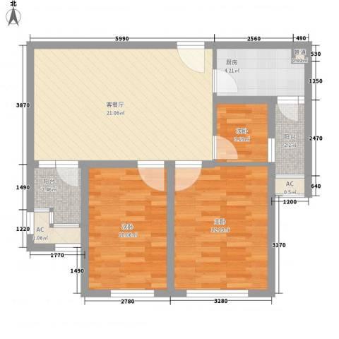 华邦光明世家3室1厅0卫1厨83.00㎡户型图