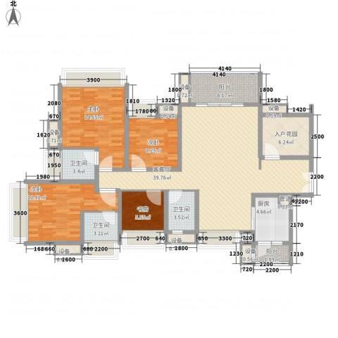 富通天邑湾4室1厅3卫1厨144.00㎡户型图