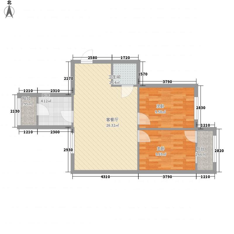 铭科苑68.00㎡户型2室