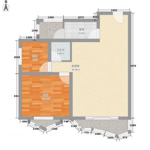 景泰花园2室0厅1卫1厨68.37㎡户型图