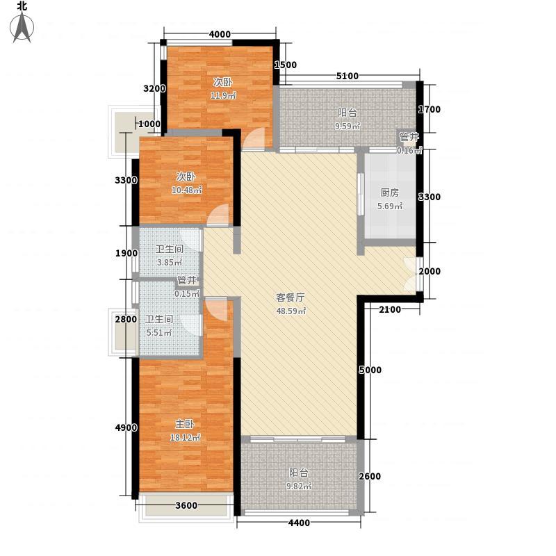 格力广场3期将军山157.80㎡19栋03户型3室2厅2卫1厨