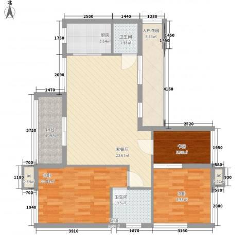 竹悦山水3室1厅2卫1厨74.00㎡户型图