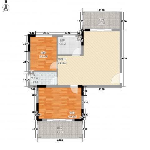 南天・凤凰城2室1厅1卫1厨79.86㎡户型图