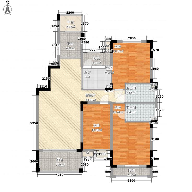 国祯・蓝色雅典户型图19#、20#东西边套B1户型 3室2厅2卫1厨