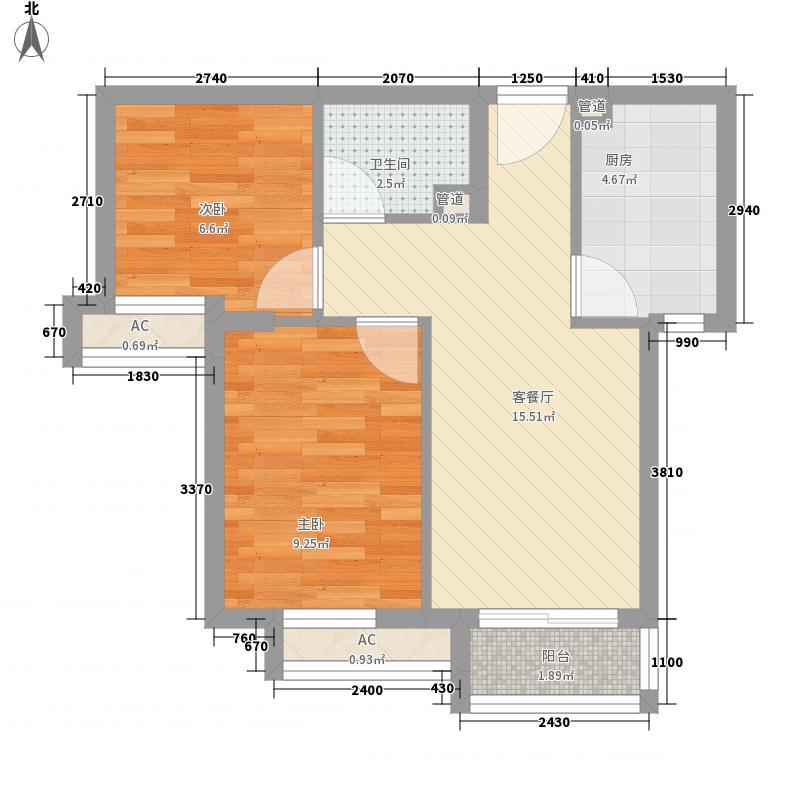 顶秀欣园63.65㎡D2户型2室1厅1卫