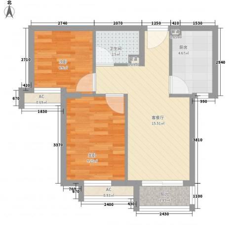 顶秀欣园2室1厅1卫1厨64.00㎡户型图