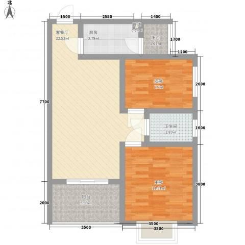 吉粮康城2室1厅1卫1厨82.00㎡户型图