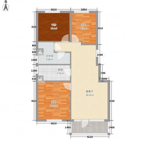 大港永安四季3室1厅1卫1厨109.00㎡户型图