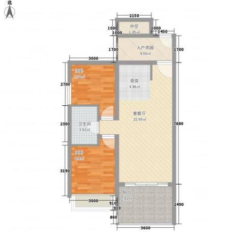 南天・凤凰城2室1厅1卫0厨60.68㎡户型图