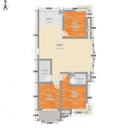 安康北苑3室1厅2卫0厨145.00㎡户型图