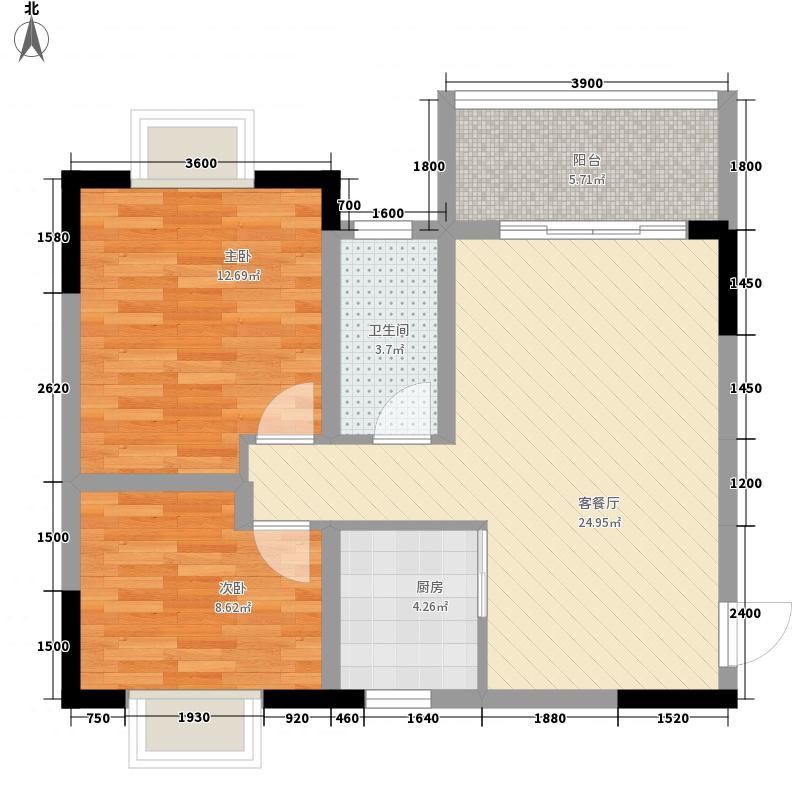 天赐良园80.80㎡天赐良园户型图D平面图2室2厅1卫户型2室2厅1卫