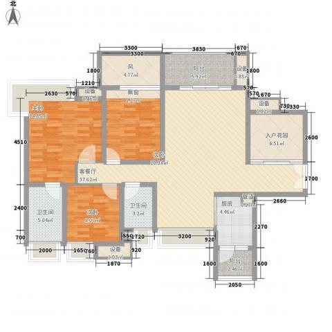 富通天邑湾3室1厅2卫1厨130.00㎡户型图