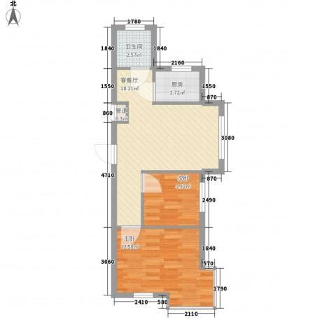 香洲心城2室1厅1卫1厨60.00㎡户型图