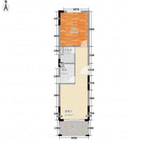 南天・凤凰城1室1厅1卫1厨66.00㎡户型图