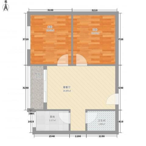 安康南苑2室1厅1卫1厨67.00㎡户型图
