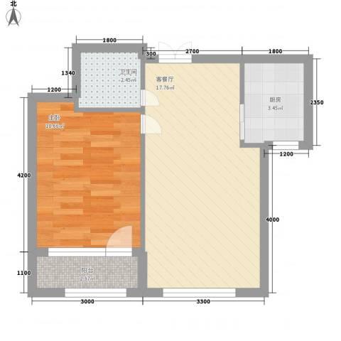 益凯蓝岸1室1厅1卫1厨57.00㎡户型图