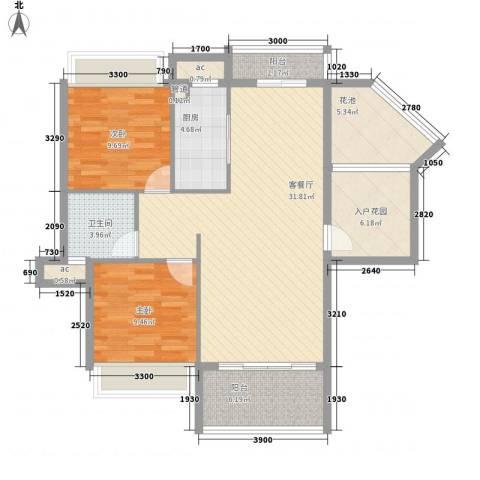 德盛南岛康城2室1厅1卫1厨94.00㎡户型图