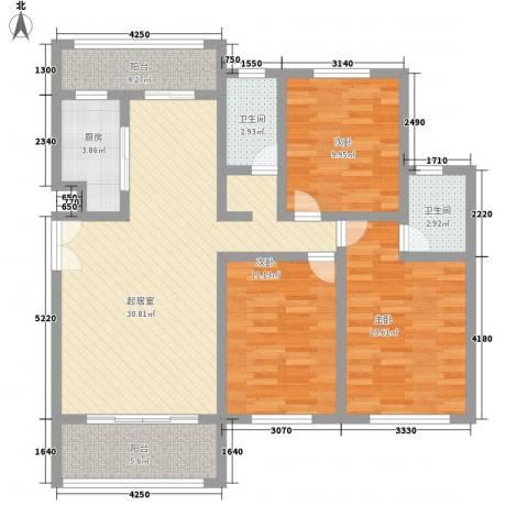 阳光府邸3室0厅2卫1厨125.00㎡户型图