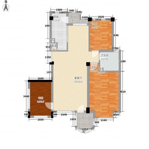 香洲心城3室1厅1卫1厨119.00㎡户型图