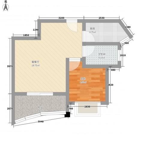 公园壹号1室1厅1卫1厨52.00㎡户型图