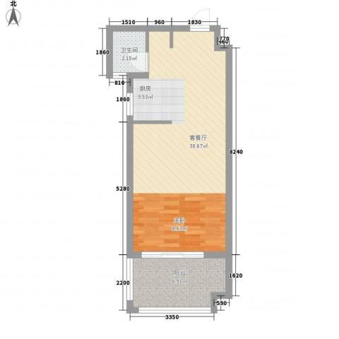 泉倾天下1厅1卫0厨56.00㎡户型图