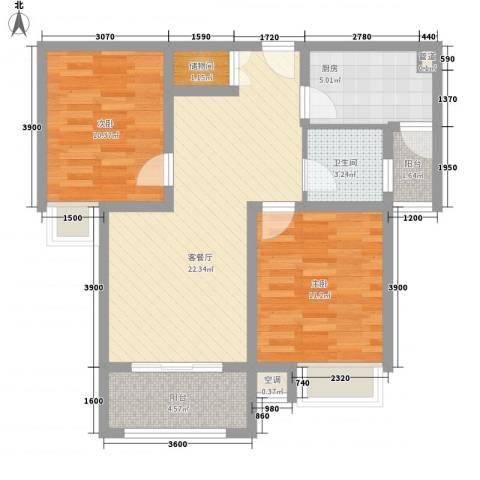 天目星城2室1厅1卫1厨89.00㎡户型图