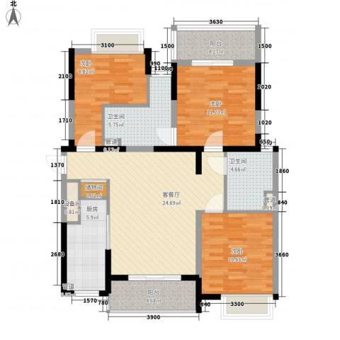 御景龙庭3室1厅2卫1厨120.00㎡户型图