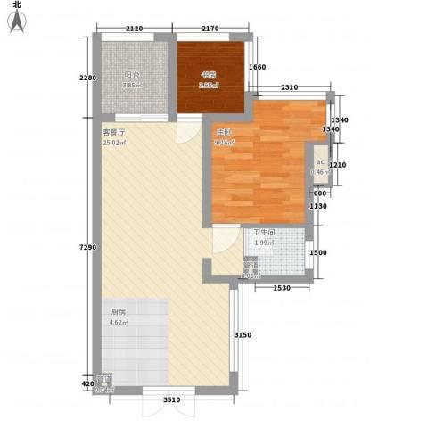 竹悦山水2室1厅1卫0厨52.00㎡户型图