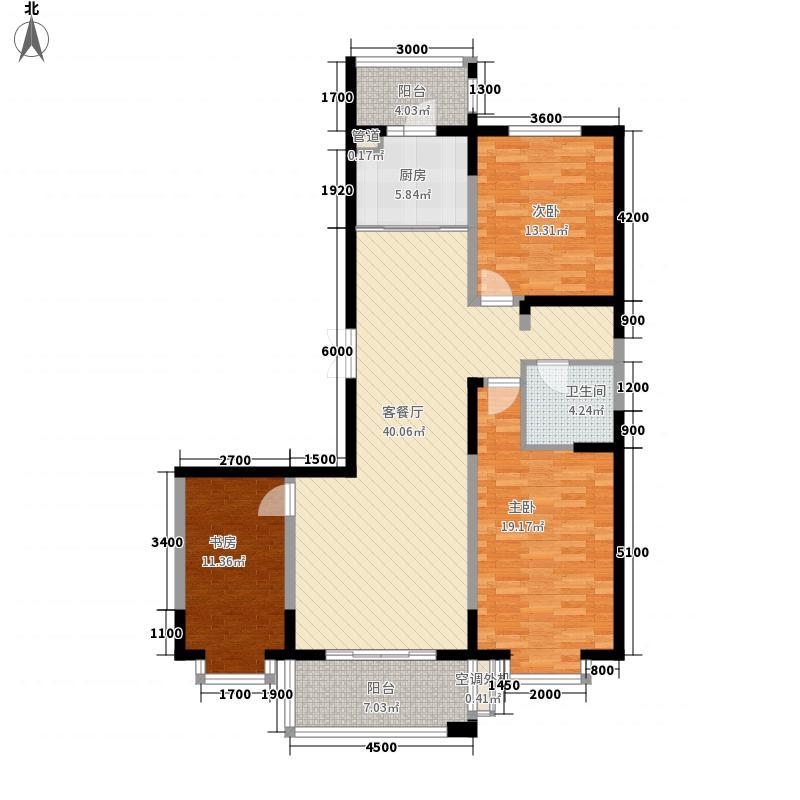 盟科观邸94.79㎡C区4#3单元户型3室1厅1卫1厨
