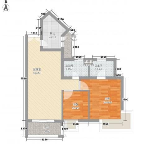 景泰花园2室0厅2卫1厨61.18㎡户型图