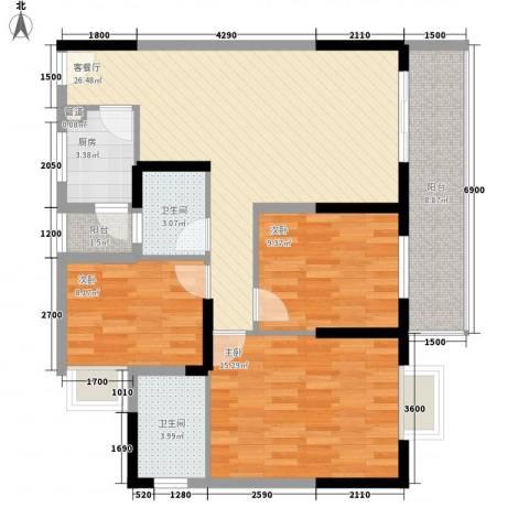 新蓝湾3室1厅2卫1厨115.00㎡户型图