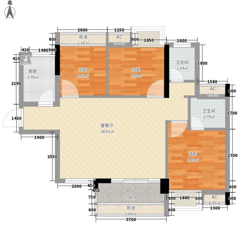 帕佳图・尚品83.77㎡17/18幢02户型3室3厅3卫1厨