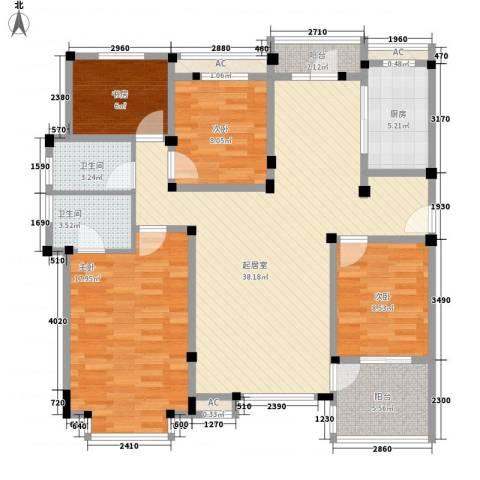 山水华庭东苑4室0厅2卫1厨143.00㎡户型图