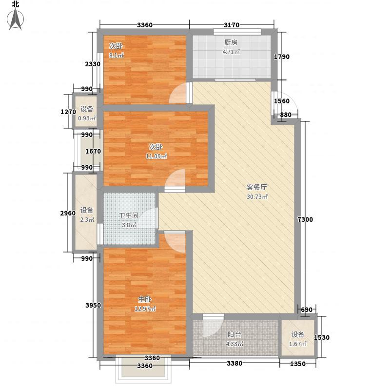 藏珑白塔湾里16.00㎡高层F户型3室2厅1卫1厨