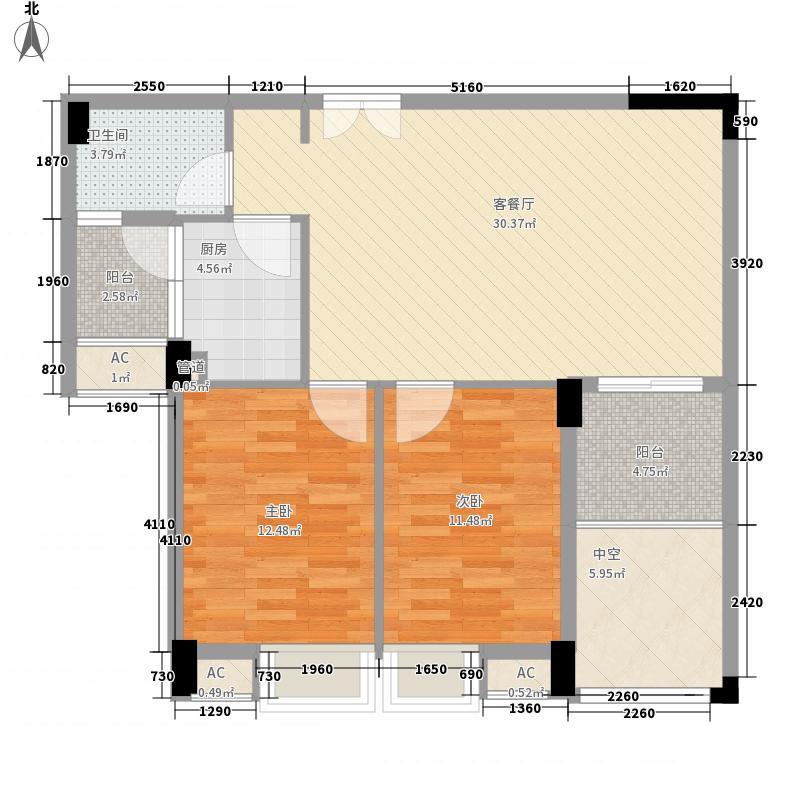 帕佳图・尚品76.00㎡10栋之一、11栋之一标准层02户型2室2厅1卫1厨