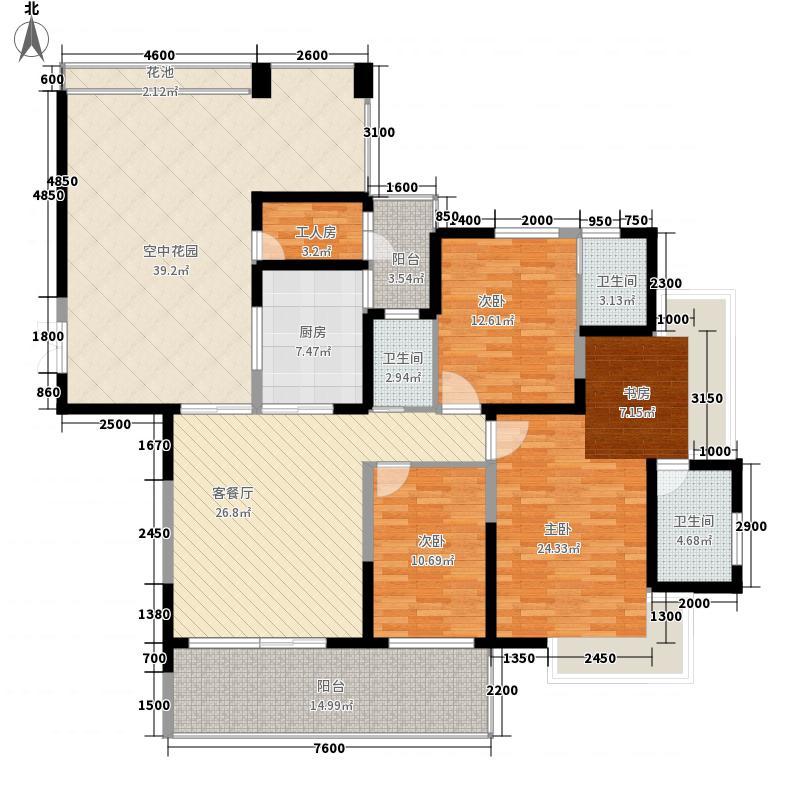 水湾六号174.50㎡2-02户型4室2厅3卫1厨