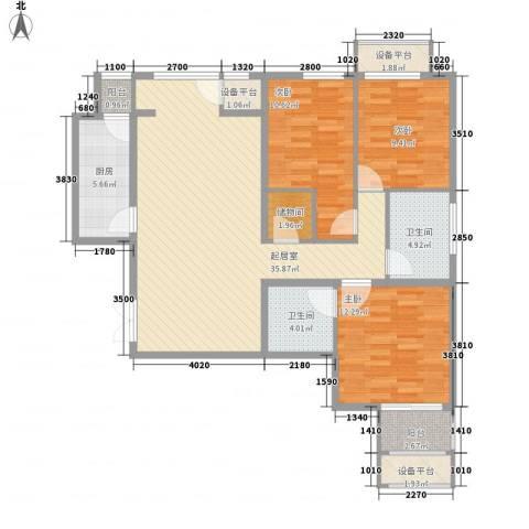 学府・未来城3室0厅2卫1厨136.00㎡户型图