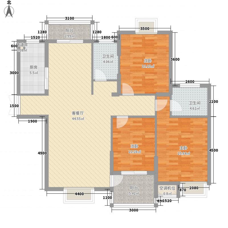 钦都豫景135.10㎡4#、5#高层C1户型3室2厅2卫1厨