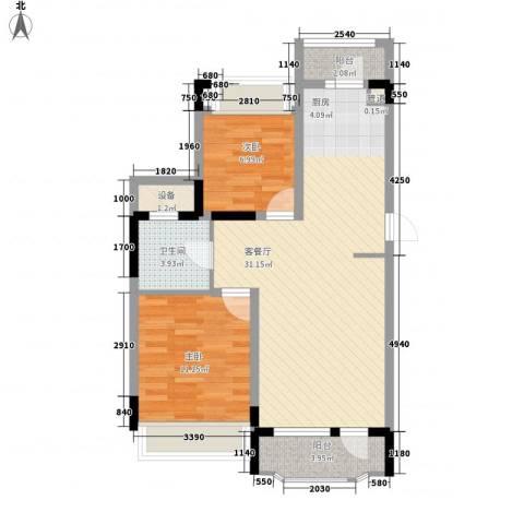 中庚香海连天2室1厅1卫0厨79.00㎡户型图