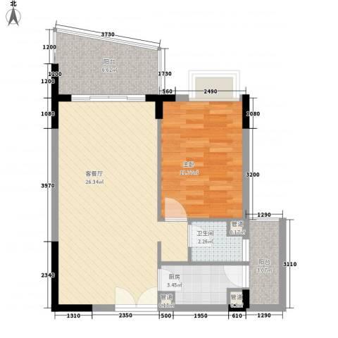 桃源居1室1厅1卫1厨76.00㎡户型图