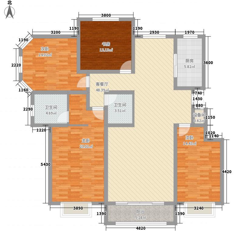 金城百合187.81㎡D户型4室2厅2卫1厨