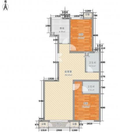 金隅凤麟洲2室0厅2卫1厨108.00㎡户型图