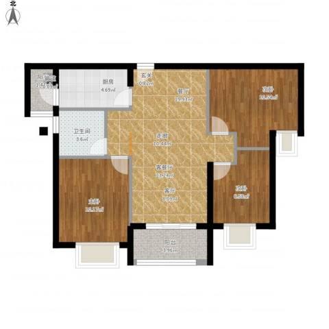 瑜翠园3室1厅1卫1厨92.00㎡户型图