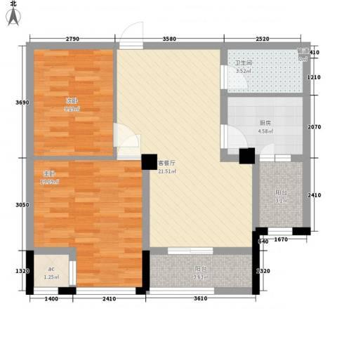 金都名苑2室1厅1卫1厨87.00㎡户型图